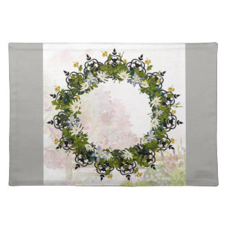 "Wreath ""Mini White"" Flowers Floral Placemat"