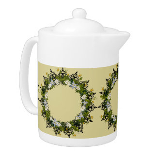 "Wreath ""Mini White"" Flowers Floral Teapot"