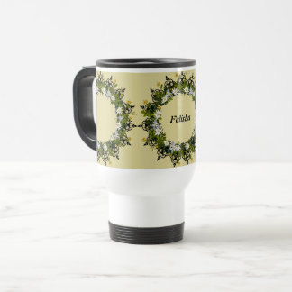 "Wreath ""Mini White"" Flowers Floral Travel Mug"
