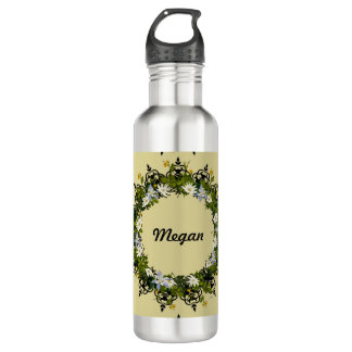 "Wreath ""Mini White"" Flowers Floral Water Bottle"