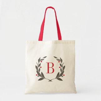 Wreath Monogram Holiday Tote Bag