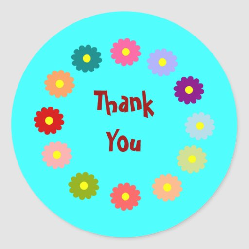 Wreath of Flowers Thank You Stickers