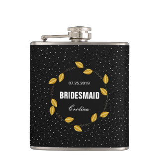 Wreath of golden leaves dotty bridesmaid Flask