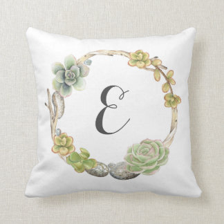 Wreath of Succulents, Twigs and Stones | Monogram Throw Pillow