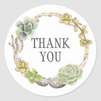 Wreath of Succulents, Twigs and Stones | Thank You Classic Round Sticker