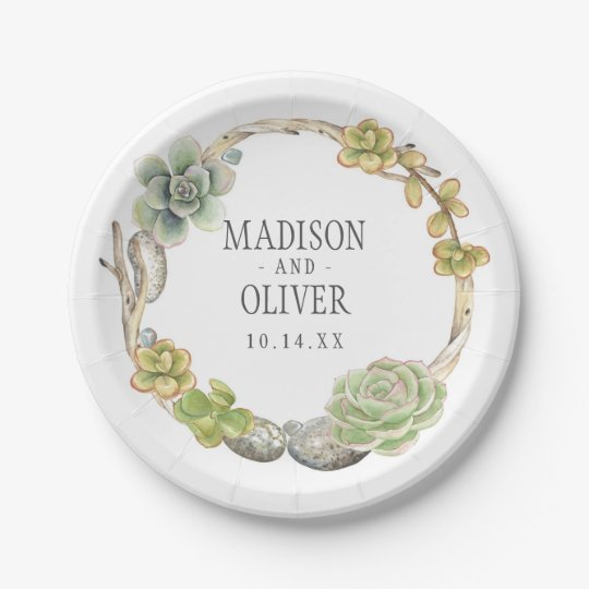 Wreath of Succulents, Twigs and Stones | Wedding 7 Inch Paper Plate