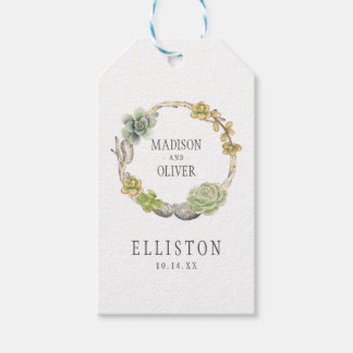 Wreath of Succulents, Twigs and Stones | Wedding Gift Tags