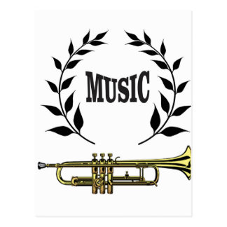 wreath of trumpet music postcard