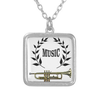 wreath of trumpet music silver plated necklace