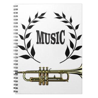 wreath of trumpet music spiral note books