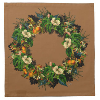 "Wreath ""Old Gold"" Flowers Floral Napkins"