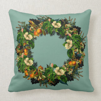 """Wreath """"Old Gold"""" Flowers Floral Pillow"""