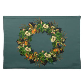 "Wreath ""Old Gold"" Flowers Floral Placemat"