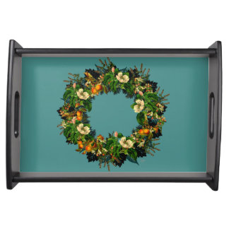 "Wreath ""Old Gold"" Flowers Floral Serving Tray"