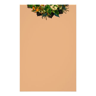 """Wreath """"Old Gold"""" Flowers Floral Stationery"""