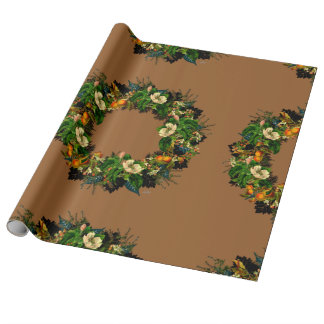 """Wreath """"Old Gold"""" Flowers Floral Wrapping Paper"""