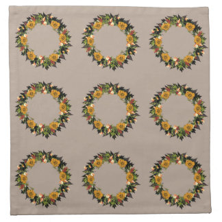 "Wreath ""Ole Orange"" Flowers Floral Napkins"