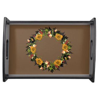 "Wreath ""Ole Orange"" Flowers Floral Serving Tray"