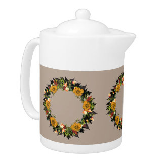 "Wreath ""Ole Orange"" Flowers Floral Teapot"