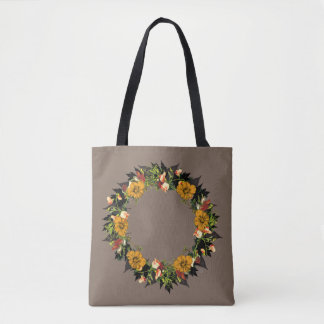 "Wreath ""Ole Orange"" Flowers Floral Tote Bag"