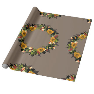 """Wreath """"Ole Orange"""" Flowers Floral Wrapping Paper"""
