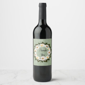 Wreath Olive Wedding Flowers Floral Wine Labels