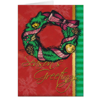 Wreath on Red-Christmas Card