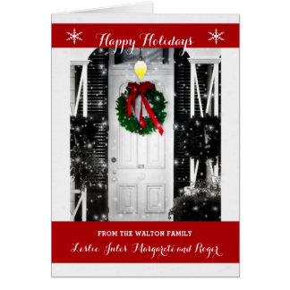 Wreath on the Door Happy Holidays with Name Card