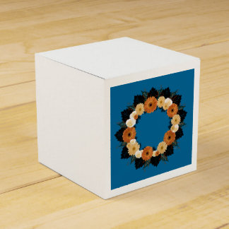 "Wreath ""Orange Blossom"" Orange Flowers Favor Box"