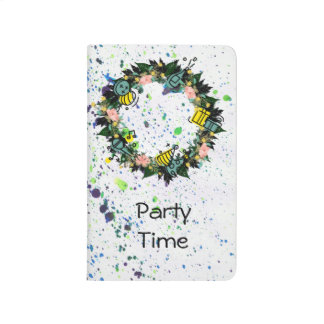 "Wreath ""Party Time"" Flowers Floral Pocket Journal"