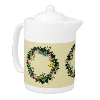"Wreath ""Party Time"" Flowers Floral Teapot"