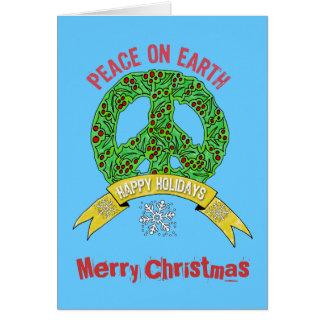 Wreath Peace Sign- Peace on Earth Merry Christmas Card