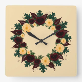 "Wreath ""Peach Daisy"" Peach Flowers Clock"