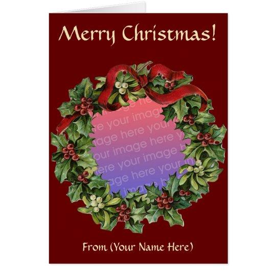 Wreath Photo Christmas Card Template