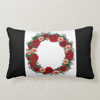"Wreath ""Pine Cone"" Red/Pink Flowers Pillow"