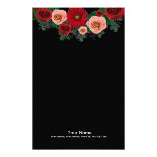 "Wreath ""Pine Cone"" Red/Pink Flowers Stationery"