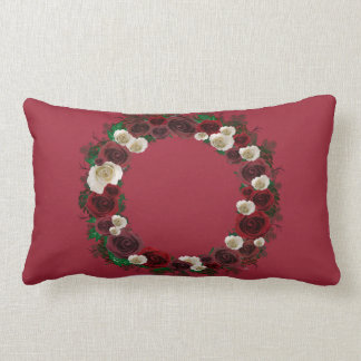 "Wreath ""Pine Roses"" Burgundy Flowers Pillow"