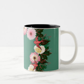 "Wreath ""Pink Bird"" Pink/White Flowers Mug"