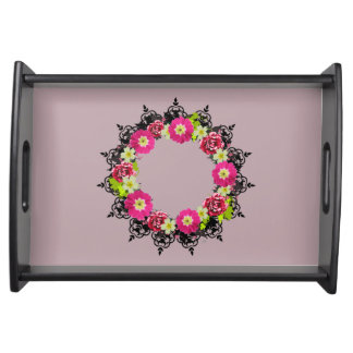 "Wreath ""Pink Grape"" Flowers Floral Serving Tray"