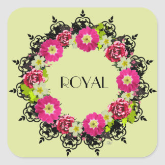 """Wreath """"Pink Grape"""" Flowers Floral Stickers"""