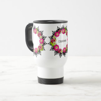 "Wreath ""Pink Grape"" Flowers Floral Travel Mug"
