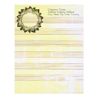 "Wreath ""Pink Love"" Flowers Floral Letterhead"
