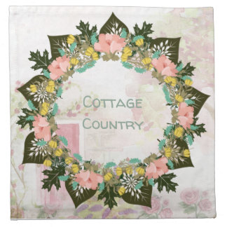 "Wreath ""Pink Love"" Flowers Floral Napkins"