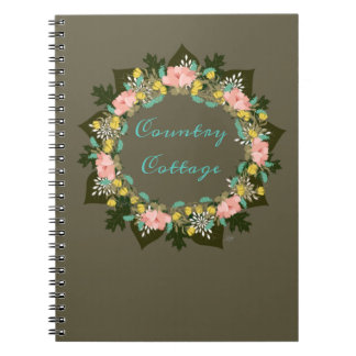 "Wreath ""Pink Love"" Flowers Floral Notebook"