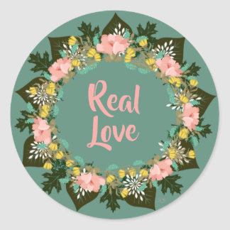 """Wreath """"Pink Love"""" Flowers Floral Stickers"""