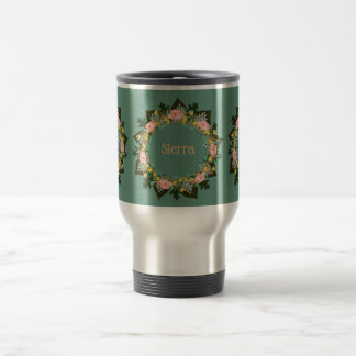 "Wreath ""Pink Love"" Flowers Floral Travel Mug"