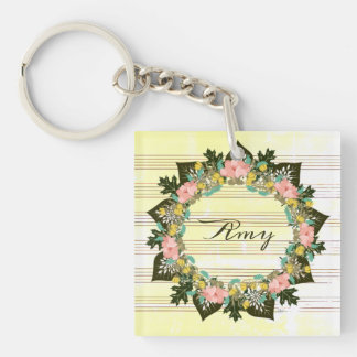 """Wreath """"Pink Love"""" Flowers Floral Vector Keychain"""