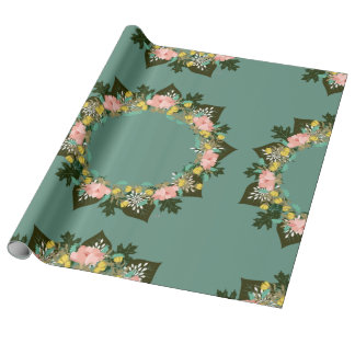 """Wreath """"Pink Love"""" Flowers Floral Wrapping Paper"""