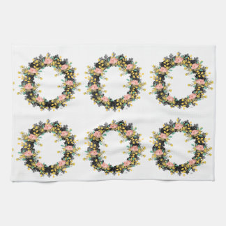 "Wreath ""Pink Yellow"" Flower Floral Kitchens Towels"