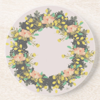 "Wreath ""Pink Yellow"" Flower Floral Vector Coasters"